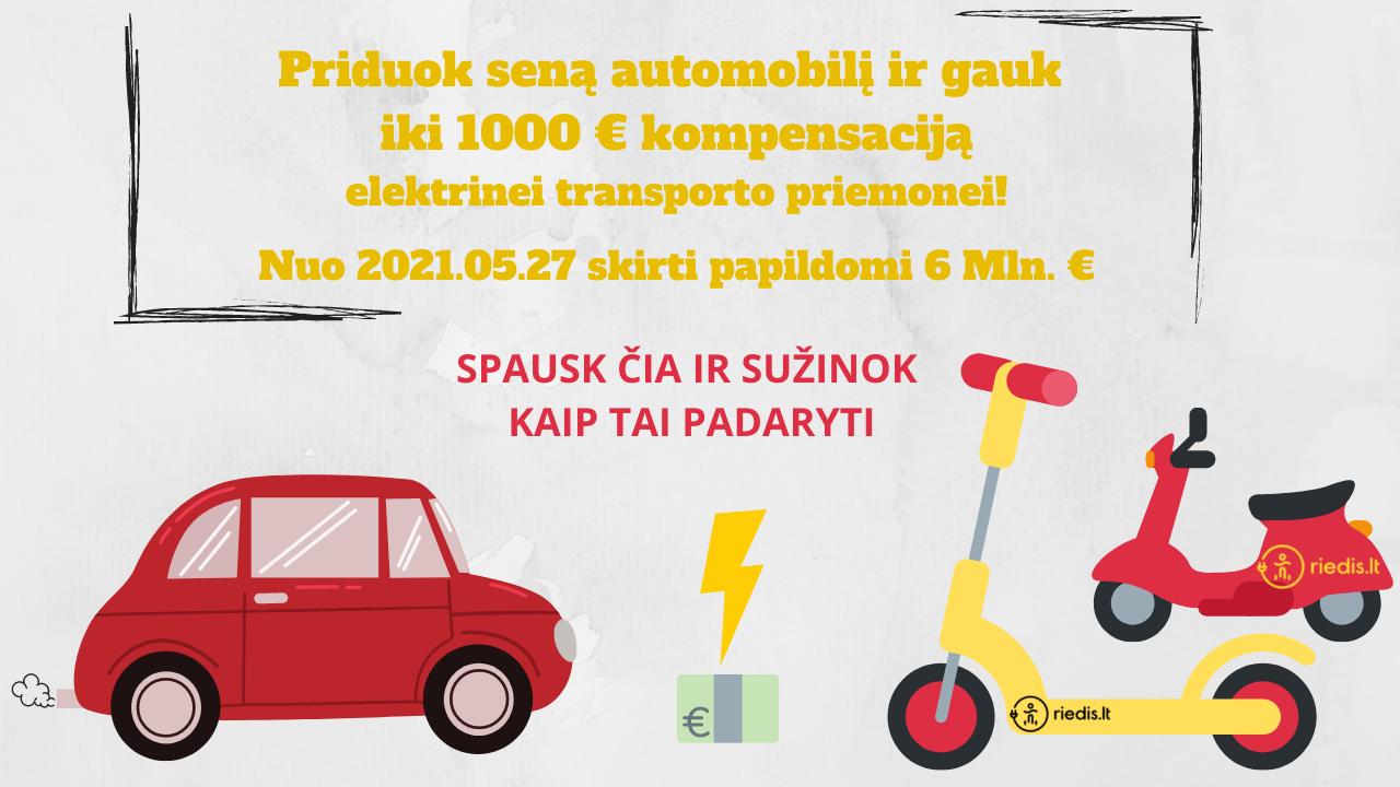 Priduok savo seną, gamtą teršiantį automobilį ir gauk iki 1000 € kompensaciją, įsigyti elektrinį paspirtuką, dviratį ar motorolerį!